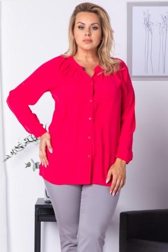 Bluzka koszulowa z regulacją długości rękawa CELIA malinowa