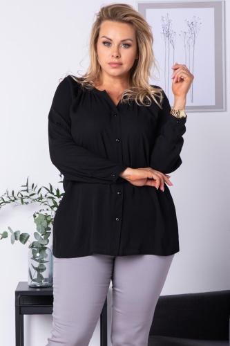 Bluzka koszulowa z regulacją długości rękawa CELIA czarna