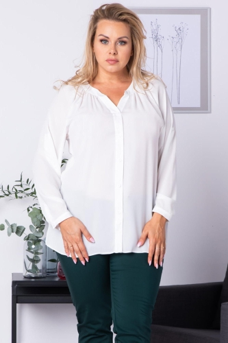 Bluzka koszulowa z regulacją długości rękawa CELIA biała