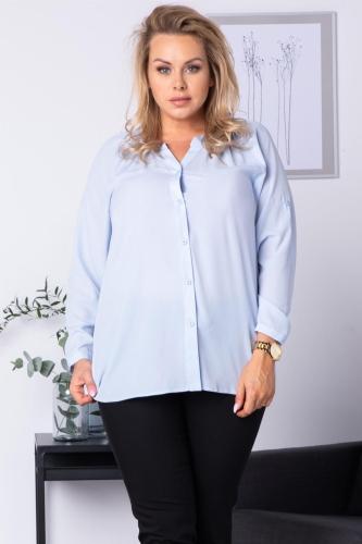 Bluzka koszulowa z regulacją długości rękawa CELIA błękitna