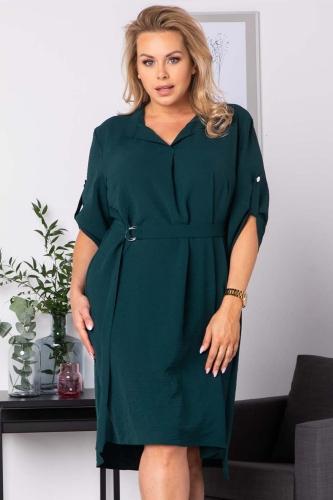 Sukienka swobodna z paskiem duże rozmiary ANIESA butelkowa zieleń