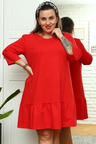 Sukienka trapezowa dresowa z falbanką ALDONA czerwona