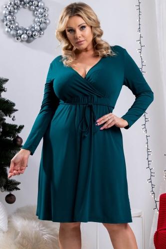 Sukienka na święta z kopertowym dekoltem REBEKA butelkowa zieleń