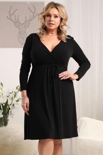 Sukienka do pracy rozkloszowana z kopertowym dekoltem REBEKA czarna