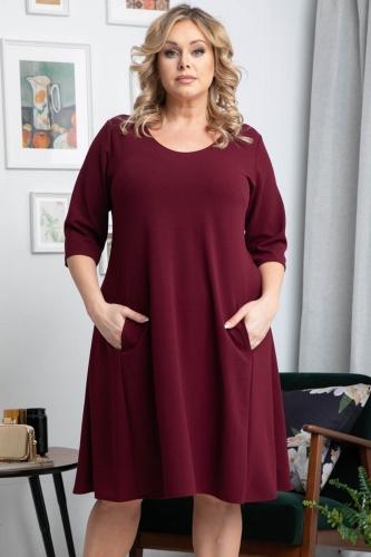Sukienka z kieszeniami trapezowa dłuższy tył KINGA bordowa