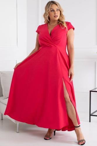 Sukienka ekskluzywna dluga z rozporkiem long LUIZA malinowa