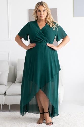 Sukienka ekskluzywna szyfonowa z dłuższym tyłem MONIKA butelkowa zieleń